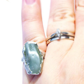 Green Aventurine Ring - Aventurine Ring - Raw Aventurine Ring - Solder Ring - Boho Gemstone RIng - Boho Style Ring- One of a Kind Rings