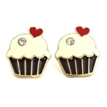 Cupcake Heart Stud Earrings Gold Tone EL35 Crystal Dessert Posts Fashion Jewelry