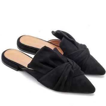 Butterfly Knot Mules - Black
