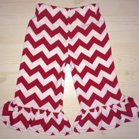 Red and White Chevron Ruffle Bottom Pants! Yoga or Elastic Style Waist Band. Baby, Girl, Toddler. Perfect for 4th of July or any Occasion!