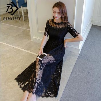 2018 Spring New Arrival Elegant Lace Mid-Calf Length Woman Dress Slim Solid Pullover Woman Dress Office Lady Korea Style D81914C