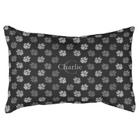 Black And Grey Monogram Dog Paws Pattern Dog Bed
