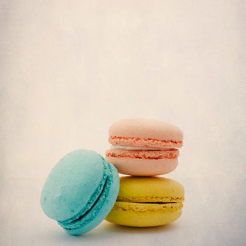 French Macaron, Modern Home Decor, Still Life Food Photo, , Pastel Colors, 8x10 Food Photography, pink, blue, yellow, peach