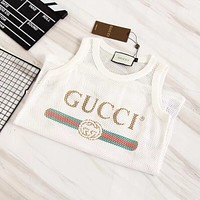 GUCCI Women Sleeveless Letters Vest Top B-YF-MLBKS White Net
