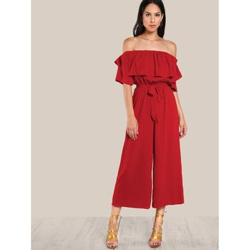 Red Flounce Off Shoulder Self Tie Culotte Jumpsuit
