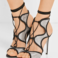 René Caovilla - Crystal-embellished satin and suede sandals