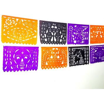 Mexican Papel picado Banner, Day of the Dead, Dia de Muertos decorations 16 FT Paper