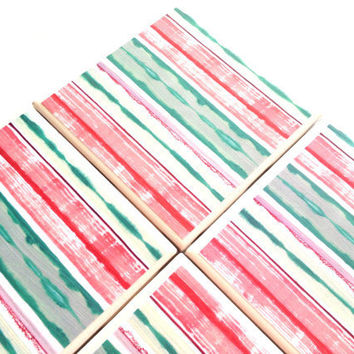 Stripe Ceramic Coasters Set Pink Tile Distressed Tile Green