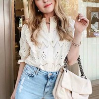 Cotton Beige Lace Shirt Half Sleeve Hollow Out Fashion Woman Blouses V Neck Casual Top Female