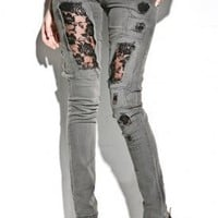 Women's Tight Lace Denim (Black) | Cheap Monday | 80's Purple