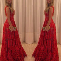 2015 New Fashion Women Sexy Dress Party Club Women Long Dress Flower Print Sleeveless Lace Dress Vestido de Festa Maxi Dress = 1931854852
