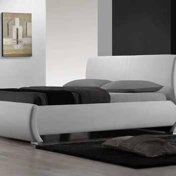 Queen Size Modern White Faux Leather Platform Bed with Headboard
