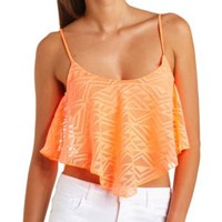 Crochet Flounce Swing Crop Top by Charlotte Russe - Neon Coral