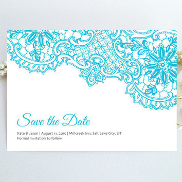 Lace Save the Date wedding card - Tiffany blue and grey lace invitation - Modern elegant simple save the date printed on pearlescent paper