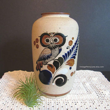 Vintage Mexican Pottery Vase, Sandstone Finish, Owl Bird / Butterfly Design