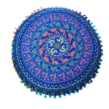 Indian Mandala Floor Pillows Round Bohemian Cushion Cushions Pillows Cover Case Home Decorative
