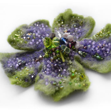 Wool Felt Flower Pin Brooch Light Green and Purple,Green Floral Corsage Pin,Felt Brooch,Felted Gift Idea,Handmade Art Pin,Embroidered Flower