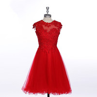 Real Images Red Cocktail Dresses Morden Formal Tulle Sexy Appliques Beading Short Cocktail Party Dress Robe De Cocktail D007