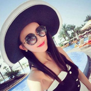 PEAP78W Women All-Match Wide Brim Sun Hat Summer Beach Vacation Folding Hat