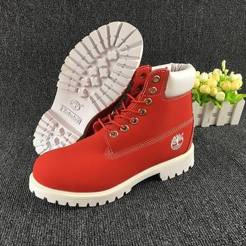 PEAPON Timberland Rhubarb Boots White Red Waterproof Martin Boots