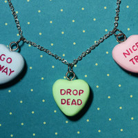 Gothic Lolita  Candy Heart Pendant  Charm Necklace  - Triple Heart Combo Rockabilly Psychobilly