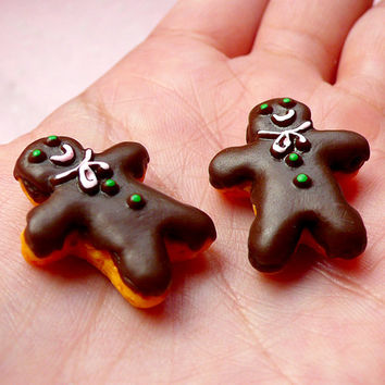 Chocolate Gingerbread Man Cabochons (2pcs / 20mm x 24mm / Flat Back) Kawaii Dollhouse Biscuit Miniature Sweets Christmas Cookie FCAB248