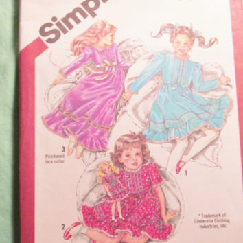Sale Uncut 1980's Simplicity Sewing pattern, 5354! Size 2 toddler Girls/Cinderella Dress/Lace Collared Prairie Dress/Knee Length/Ankle Lengt