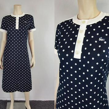 Chemise Lacoste Vintage 60s 70s Polka Dot Scooter Shift Dress Navy Blue and White Prep