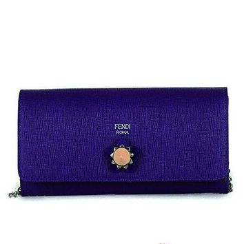 Fendi Crayons Long Leather Chain Wallet 8m0365 Purple