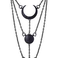 Black Moon Phases Pendant Necklace Full Crescent Luna