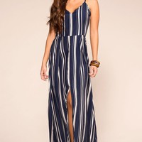 Crashing Waves Navy Striped Maxi Dress