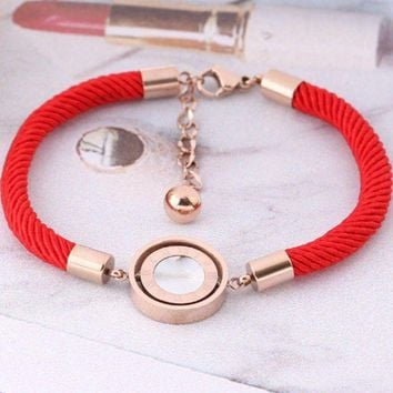 Bnlgari Red Rope Bracelet Female Roman Numerals Black And White Turn Rose Gold Personalized Hand Rope