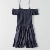 AEO Smocked Off-the-Shoulder Romper , Navy