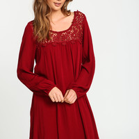Burgundy Floral Crochet Crepe Dress