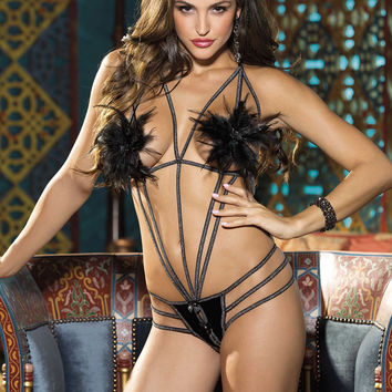 Shirley of Hollywood Hot Lingerie Feather Thong Teddy Black