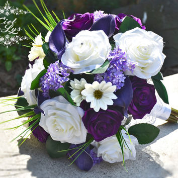Juliet Wedding Bouquet by Ciel De Lys Roses Calla Lilies Lilac Daisies Silk Flowers Wedding Flowers Bridal Bouquet