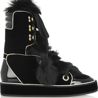 Nicholas Kirkwood - Polly shearling, velvet and patent-leather boots
