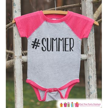 Hashtag Summer Onepiece or Raglan - Fun Summer Outfit For Kids - Pink Baseball Tee or Onepiece - Summer Outfit for Baby, Youth, Toddler