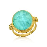 Tagliamonte Designer Cameo Three Graces - 18K Gold Turquoise Mother of Pearl Cameo Ring