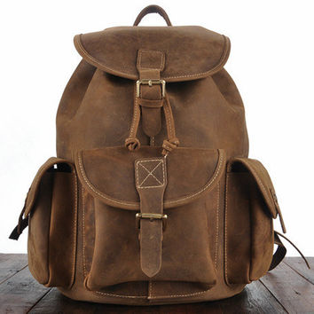 Vintage Classic Brown Oil-Pull Full-Grain Cowhide Leather Backpack