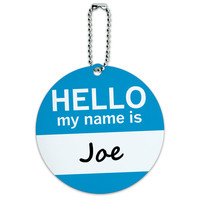 Joe Hello My Name Is Round ID Card Luggage Tag