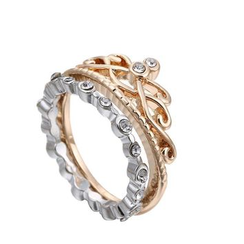 Hot Sale Korean Diamonds Strong Character Hollow Out Crown Ring Stylish Set [6047221697]