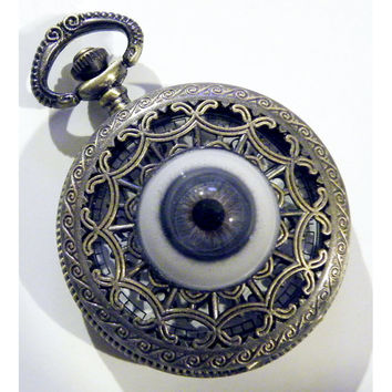 Steampunk Human Blue Life size Glass Eye Gothic Pocket Watch Necklace or Chain Fob