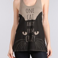 ONE CAT AWAY FROM CRAZY Racerback Tank Top