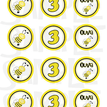 Bumble bee Cupcake Topper, Tags, sticker, party favor - Bee printable - Bee birthday party