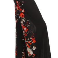 Black & Red Roses designed Palazzo Pants