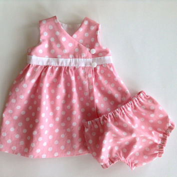 Polka Dot Premature/Preemie Baby Dress Jumper Wrap Dress