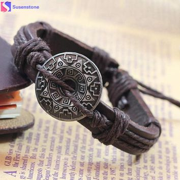 SUSENSTONE Retro Girl Boy Style Bracelet Bangle Charm Cuff Jewelry bracelets for women  Brown and Black #0