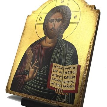 Christ Jesus Blessing Picture Greek Russian Orthodox Devotional Icon 10.3H attic