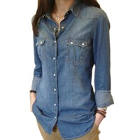 Womens Chambray Shirt Top denim Shirts and Blouses Long Sleeve Snap Button Cotton Ladies Shirt Camisa Blusa Camisetas Femininas